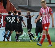 24 July 2015; St Patrick's Athletic's Chris Forrester, far right, celebrates with team-mates after scoring his side's first goal. SSE Airtricity League Premier Division, Sligo Rovers v St Patrick's Athletic. The Showgrounds, Sligo. Picture credit: David Maher / SPORTSFILE