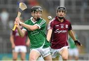 26 July 2015; Michael Mackey, Limerick, in action against Seán Loftus, Galway. Electric Ireland GAA Hurling All-Ireland Minor Championship, Quarter-Final, Limerick v Galway. Semple Stadium, Thurles, Co. Tipperary. Picture credit: Stephen McCarthy / SPORTSFILE