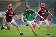 26 July 2015; Michael Mackey, Limerick, in action against Jack Grealish, left, and Tom Monaghan, Galway. Electric Ireland GAA Hurling All-Ireland Minor Championship, Quarter-Final, Limerick v Galway. Semple Stadium, Thurles, Co. Tipperary. Picture credit: Stephen McCarthy / SPORTSFILE