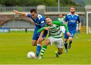 26 July 2015; Shane Tracy, Limerick, tackles Kieran Marty Waters, Shamrock Rovers. SSE Airtricity League, Premier Division, Shamrock Rovers v Limerick. Tallaght Stadium, Tallaght, Co. Dublin. Picture credit: Sam Barnes / SPORTSFILE