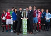 27 July 2015; Republic of Ireland assistant manager Roy Keane with Aine Murphy, SSE Airtricity, Fran Gavin, Director of the National League, and Ruud Dokter, FAI High Performance Director, with players, from left, Aodh Dervin, Longford Town FC, Conor Fowler, St. Patrick's Athletic, Cian Collins, Shamrock Rovers, Owen Folan, Mervue United, Ruadhan Feeney, Sligo Rovers, David Forture, Athtlone Town, and Christopher Horgan, Salthill Devon. SSE Airtricity National U17s League Launch. FAI HQ, Abbotstown, Co. Dublin. Picture credit: David Maher / SPORTSFILE