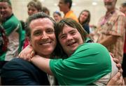 28 July 2015; Team Ireland's Lorraine Hession, a member of Team South Galway, from Turloughmore, Co Galway, celebrates with the Lieutenant Governor of Calafornia, Gavin Newsom, after being presented with her 4th place ribbon for her swim in the AQ 100M Freestyle Division F14 event at the Uytengsu Aquatics Center. Special Olympics World Summer Games, Los Angeles, California, United States. Picture credit: Ray McManus / SPORTSFILE