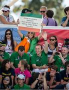 28 July 2015; Supporters of Team Ireland's Lorraine Hession, from Turloughmore, Co Galway, including her brothers Paul and Joseph, cheer her on as she swims her way to winning a 4th place ribbon in the AQ 100M Freestyle Division F14 event at the Uytengsu Aquatics Center. Special Olympics World Summer Games, Los Angeles, California, United States. Picture credit: Ray McManus / SPORTSFILE