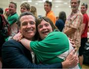 28 July 2015; Team Ireland's Lorraine Hession, a member of Team South Galway, from Turloughmore, Co. Galway, celebrates with the Lieutenant Governor of Calafornia, Gavin Newsom, after being presented with her 4th place ribbon for her swim in the AQ 100M Freestyle Division F14 event at the Uytengsu Aquatics Center. Special Olympics World Summer Games, Los Angeles, California, United States. Picture credit: Ray McManus / SPORTSFILE
