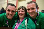 28 July 2015; Team Ireland's Lorraine Hession, a member of Team South Galway, from Turloughmore, Co. Galway, celebrates with her brothers, Paul, left, and Joseph, after being presented with her 4th place ribbon for her swim in the AQ 100M Freestyle Division F14 event at the Uytengsu Aquatics Center. Special Olympics World Summer Games, Los Angeles, California, United States. Picture credit: Ray McManus / SPORTSFILE