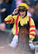 28 July 2015; Jockey Gary Halpin tips his cap to the crowd after riding Beau Satchel to victory in the Caulfield Industrial Athlone Handicap. Galway Racing Festival, Ballybrit, Galway. Picture credit: Cody Glenn / SPORTSFILE
