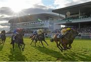 28 July 2015; Beau Satchel, with Gary Halpin up, front left, finishes a nose ahead of Cairdiuil, with Jack Kennedy up, to win the Caulfield Industrial Athlone Handicap. Galway Racing Festival, Ballybrit, Galway. Picture credit: Cody Glenn / SPORTSFILE