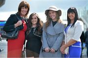 28 July 2015; Racegoers, from left, Connie McMahon, Chelsie McGrath, Tara McMahon and Teresa Liinnane, all from Ennis, Co. Clare. Galway Racing Festival, Ballybrit, Galway. Picture credit: Cody Glenn / SPORTSFILE
