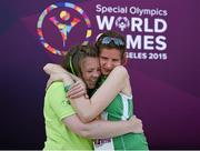 29 July 2015; Team Ireland's Aoife Beston, a member of Claremorris All Stars Special Olympics Club, from Claremorris, Co. Mayo, celebrates with her sister Lorraine, left, after competing in the 5,000M event at the at the Katherine B. Loker Stadium. Special Olympics World Summer Games, Los Angeles, California, United States. Picture credit: Ray McManus / SPORTSFILE