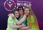 29 July 2015; Team Ireland's Aoife Beston, a member of Claremorris All Stars Special Olympics Club, from Claremorris, Co. Mayo, celebrates with her sisters Lorraine, left, and Laura after competing in the 5,000M event at the at the Katherine B. Loker Stadium. Special Olympics World Summer Games, Los Angeles, California, United States. Picture credit: Ray McManus / SPORTSFILE