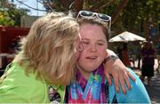29 July 2015; Team Ireland's Kirsty Devlin, a member of SALTO Gymnastics Club, from Belfast, who won 2 Gold and 2 silver medals, in gymnastics, is congratulated by her mother Elizebeth at the John Wooden Center, UCLA. Special Olympics World Summer Games, Los Angeles, California, United States. Picture credit: Ray McManus / SPORTSFILE