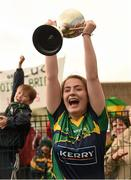 29 July 2015; Kerry captain Faye O'Donoghue lifts the cup after victory over Galway. All Ireland U16 A Ladies Football Championship Final, Galway v Kerry, Bruff, Co. Limerick. Picture credit: Diarmuid Greene / SPORTSFILE