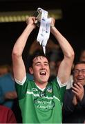 30 July 2015; Limerick captain Diarmaid Byrnes lifts the Corn na Cásca following his side's victory. Bord Gáis Energy Munster GAA Hurling U21 Championship Final, Clare v Limerick. Cusack Park, Ennis, Co. Clare. Picture credit: Stephen McCarthy / SPORTSFILE