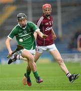 26 July 2015; Michael Mackey, Limerick, in action against Tom Monaghan, Galway. Electric Ireland GAA Hurling All-Ireland Minor Championship, Quarter-Final, Limerick v Galway. Semple Stadium, Thurles, Co. Tipperary. Picture credit: Stephen McCarthy / SPORTSFILE