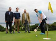 """31 July 2015; Ireland's largest golf complex, Deer Park Golf at Howth Castle, has opened the world's first """"Poc Fada Golf"""" course, ahead of the All-Ireland Poc Fada Final. Pictured launching this new game, combining hurling with golf, are from left: Humphrey Kelleher, former Dublin hurling manager and Chairman of the National Poc Fada Committee;  Thomas and Julian Gaisford-St Lawrence of Howth Castle; and Dublin GAA All-Star hurler and TV pundit Liam Rushe. DeerPark Golf & FootGolf, Howth Castle, Dublin. Picture credit: Seb Daly / SPORTSFILE"""