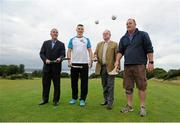 """31 July 2015; Ireland's largest golf complex, Deer Park Golf at Howth Castle, has opened the world's first """"Poc Fada Golf"""" course, ahead of the All-Ireland Poc Fada Final. Pictured launching this new game, combining hurling with golf, is from left: Humphrey Kelleher, former Dublin hurling manager and Chairman of the National Poc Fada Committee; Dublin GAA All-Star hurler and TV pundit Liam Rushe; Julian Gaisford-St Lawrence of Howth Castle; and David Caulfield of Beann Eadair GAA. DeerPark Golf & FootGolf, Howth Castle, Dublin. Picture credit: Seb Daly / SPORTSFILE"""