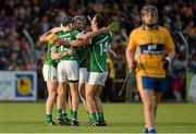 30 July 2015; Limerick players Cian Lynch, Colin Ryan, David Dempsey and Tom Morrissey celebrate after defeating Clare. Bord Gáis Energy Munster GAA Hurling U21 Championship Final, Clare v Limerick, Cusack Park, Ennis, Co. Clare. Picture credit: Diarmuid Greene / SPORTSFILE