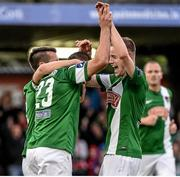 31 July 2015; Mark O'Sullivan, centre, Cork City, celebrates with team-mates Liam Miller and Kevin O'Connor after scoring his side's second goal. SSE Airtricity League Premier Division, Cork City v Bohemians. Turners Cross, Cork. Picture credit: David Maher / SPORTSFILE