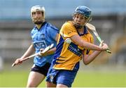 1 August 2015; Aoife Keane, Clare, in action against Catriona Power, Dublin. Liberty Insurance Senior Camogie Championship Play-Off, Clare v Dublin. Semple Stadium, Thurles, Co. Tipperary. Picture credit: Matt Browne / SPORTSFILE
