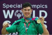 2 August 2015; Team Ireland's Keith Butler, a member of D6 Special Olympics Club, from Walkinstown, Dublin, on the podium after being presented with the Gold medal in the AQ 800M Freestyle Division M5 Final at the Uytengsu Aquatics Center. Special Olympics World Summer Games, Los Angeles, California, United States. Picture credit: Ray McManus / SPORTSFILE