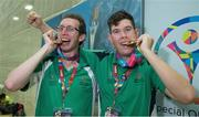 2 August 2015; Team Ireland's Brendan O'Connell, left, a member of Kerry Stars Special Olympics Club, from Tralee, Co. Kerry, and Team Ireland's Keith Butler, a member of D6 Special Olympics Club, from Walkinstown, Dublin, after they were presented with the Gold medal in the AQ 800M Freestyle Division M4 and M5 Finals at the Uytengsu Aquatics Center. Special Olympics World Summer Games, Los Angeles, California, United States. Picture credit: Ray McManus / SPORTSFILE