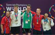 2 August 2015; Team Ireland's Brendan O'Connell, a member of Kerry Stars Special Olympics Club, from Tralee, Co. Kerry, on the podium with fellow competitors after being presented with the Gold medal in the AQ 800M Freestyle Division M4 Final at the Uytengsu Aquatics Center. Special Olympics World Summer Games, Los Angeles, California, United States. Picture credit: Ray McManus / SPORTSFILE