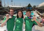 2 August 2015; Aquatics Head Coach Jenny Hughes with Team Ireland's Brendan O'Connell, left, a member of Kerry Stars Special Olympics Club, from Tralee, Co. Kerry, and Team Ireland's Keith Butler, a member of D6 Special Olympics Club, from Walkinstown, Dublin, after they were presented with the Gold medal in the AQ 800M Freestyle Division M4 and M5 Finals at the Uytengsu Aquatics Center. Special Olympics World Summer Games, Los Angeles, California, United States. Picture credit: Ray McManus / SPORTSFILE
