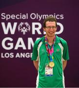 2 August 2015; Team Ireland's Brendan O'Connell, a member of Kerry Stars Special Olympics Club, from Tralee, Co Kerry, on the podium after being presented with the Gold medal in the AQ 800M Freestyle Division M4 Final at the Uytengsu Aquatics Center. Special Olympics World Summer Games, Los Angeles, California, United States. Picture credit: Ray McManus / SPORTSFILE