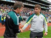 2 August 2015; Kerry manager Eamonn Fitzmaurice, right, shakes hands with Kildare manager Jason Ryan at the final whistle. GAA Football All-Ireland Senior Championship Quarter-Final, Kerry v Kildare. Croke Park, Dublin. Picture credit: Ramsey Cardy / SPORTSFILE