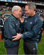 2 August 2015; Fermanagh manager Pete McGrath, left, shakes hands with Dublin manager Jim Gavin at the final whistle. GAA Football All-Ireland Senior Championship Quarter-Final, Dublin v Fermanagh. Croke Park, Dublin. Picture credit: Ramsey Cardy / SPORTSFILE