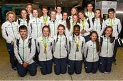3 August 2015; Members of the Ireland team arrive home from the European Youth Olympics. Dublin Airport, Dublin. Picture credit: Cody Glenn / SPORTSFILE