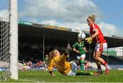 3 August 2015; Valerie Mulcahy, Cork, in action against Aine Bennett, Meath, after a missed penalty. TG4 Ladies Football All-Ireland Senior Championship, Qualifier Round 2, Cork v Meath. Semple Stadium, Thurles, Co. Tipperary. Picture credit: Ramsey Cardy / SPORTSFILE