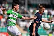3 August 2015; Chris Forrester, St Patrick's Athletic, in action against Ryan Brennan, Shamrock Rovers. EA Sports Cup Semi-Final, Shamrock Rovers v St Patrick's Athletic. Tallaght Stadium, Tallaght Co. Dublin. Picture credit: David Maher / SPORTSFILE
