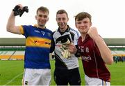 3 August 2015; Tipperary's, from left, Jack Skeehan, Charlie Manton and Emmett Moloney celebrate after the game. Electric Ireland GAA Football All-Ireland Minor Championship, Quarter-Final, Galway v Tipperary. O'Connor Park, Tullamore, Co. Offaly. Picture credit: Piaras Ó Mídheach / SPORTSFILE