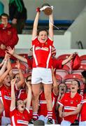 3 August 2015; Cork's Hannah Looney lifts the trophy following their side's victory. TG4 Ladies Football All-Ireland Minor A Championship Final, Cork v Galway. Semple Stadium, Thurles, Co. Tipperary. Picture credit: Ramsey Cardy / SPORTSFILE