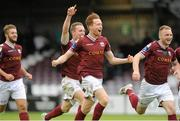 3 August 2015; Galway United players celebrate their team's victory in a penalty shoot-out against Dundalk. EA Sports Cup, Semi-Final, Galway United v Dundalk. Eamonn Deasy Park, Galway. Picture credit: Seb Daly / SPORTSFILE
