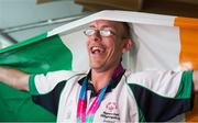 4 August 2015; Team Ireland's Noel Delaney, a member of Sporting Fingal Special Olympics, from Finglas, Dublin, during the homecoming. Team Ireland returns from the Special Olympics World Summer Games. Terminal 2, Dublin Airport. Picture credit: Ray McManus / SPORTSFILE