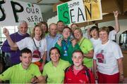 4 August 2015; Family and friends of Team Ireland's Sean (John Paul) Coleman, a member of Cork Special Olympics Swimming Club, from Youghal, Co Cork, welcome him at the homecoming. Team Ireland returns from the Special Olympics World Summer Games. Terminal 2, Dublin Airport. Picture credit: Ray McManus / SPORTSFILE