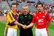 17 June 2007;  Wexford captain Ciaran Deely with referee Paddy Russell and Louth captain Peter McGinnity before the 'toss'. Bank of Ireland Leinster Senior Football Championship Quarter-Final, Louth v Wexford, Croke Park, Dublin. Picture credit: Ray McManus / SPORTSFILE