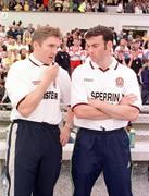 18 June 2000: Derry assistant manager Damien Cassidy, left, and Martin McElkennon, part of the Derry management team, in communication with manager Eamonn Coleman during the game. Derry v Antrim, Ulster Football Championship, Casement Park, Belfast. Picture credit: Oliver McVeigh / SPORTSFILE