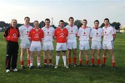 7 December 2008; Tyrone players Enda McGinley, Colm McCullagh, Colm Gormley, Ryan McMenamin, Justin McMahon, Tommy McGuigan, Davy Harte, Sean Cavanagh with manager Mickey Harte before the game. GAA Football All-Stars Tour, Páirc na nGael, Treasure Island, San Francisco, USA. Picture credit: Ray McManus / SPORTSFILE