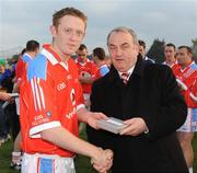 7 December 2008; GAA President Nickey Brennan makes a presentation to Colm Cooper, Kerry, who played on the 2007 Vodafone GAA All-Stars team. GAA Football All-Stars Tour, Páirc na nGael, Treasure Island, San Francisco, USA. Picture credit: Ray McManus / SPORTSFILE