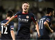 7 August 2015; Chris Forrester, St. Patrick's Athletic, celebrates after scoring his side's first goal. SSE Airtricity League Premier Division, Shamrock Rovers v St. Patrick's Athletic, Tallaght Stadium, Tallaght, Co. Dublin. Picture credit: David Maher / SPORTSFILE