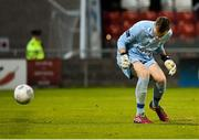 7 August 2015; Shamrock Rovers goalkeeper Craig Hyland drops the ball from a shot from Chris Forrester, St. Patrick's Athletic, to give St. Patrick's Athletic the lead. SSE Airtricity League Premier Division, Shamrock Rovers v St. Patrick's Athletic, Tallaght Stadium, Tallaght, Co. Dublin. Picture credit: David Maher / SPORTSFILE