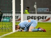 7 August 2015; A dejected Shamrock Rovers goalkeeper Craig Hyland, after dropping the ball from a shot from Chris Forrester, St. Patrick's Athletic, to give St. Patrick's Athletic the lead. SSE Airtricity League Premier Division, Shamrock Rovers v St. Patrick's Athletic, Tallaght Stadium, Tallaght, Co. Dublin. Picture credit: David Maher / SPORTSFILE