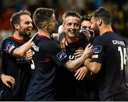 7 August 2015; Chris Forrester, second from right, St. Patrick's Athletic, celebrates after scoring his side's first goal with team-mates. SSE Airtricity League Premier Division, Shamrock Rovers v St. Patrick's Athletic, Tallaght Stadium, Tallaght, Co. Dublin. Picture credit: David Maher / SPORTSFILE