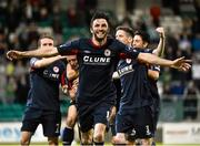 7 August 2015; Killian Brennan, St. Patrick's Athletic, celebrates after his team-mate Chris Forrester had scored his side's first goal. SSE Airtricity League Premier Division, Shamrock Rovers v St. Patrick's Athletic, Tallaght Stadium, Tallaght, Co. Dublin. Picture credit: David Maher / SPORTSFILE