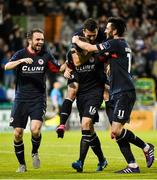 7 August 2015; Chris Forrester, second from left, St. Patrick's Athletic, celebrates after scoring his side's first goal with team-mates, from left, Conan Byrne, Arron Greene and Killian Brennan. SSE Airtricity League Premier Division, Shamrock Rovers v St. Patrick's Athletic, Tallaght Stadium, Tallaght, Co. Dublin. Picture credit: David Maher / SPORTSFILE