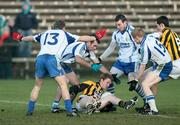 14 December 2008; Paul McKeown, Crossmaglen Rangers, surrounded by Martin Harney, James Bateson, Raymond Wilkinson and Colin Devlin, Ballinderry. AIB Ulster Senior Club Football Championship Final Replay, Crossmaglen Rangers v Ballinderry, Brewster Park, Enniskillen, Co. Fermanagh. Picture credit: Oliver McVeigh / SPORTSFILE