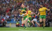 8 August 2015; Donegal's Mark McHugh is tackled by Mayo's Donal Vaughan who was subsequently shown a black card for this tackle. GAA Football All-Ireland Senior Championship Quarter-Final, Donegal v Mayo, Croke Park, Dublin. Picture credit: Ray McManus / SPORTSFILE